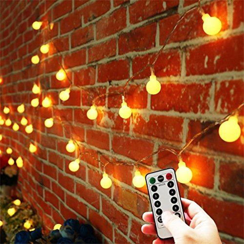 [Updated Version] 33 Feet 80leds Bedroom Globe String LED Lights Battery  Powered With Remote Timer Outdoor Indoor Decorations Lighting For Garden,  Party, ...
