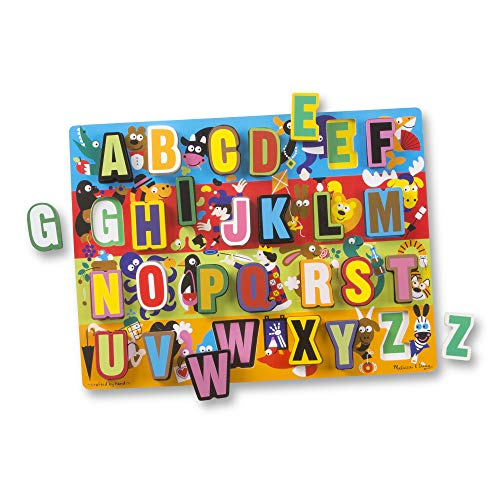 Melissa & Doug Jumbo ABC Wooden Chunky Puzzle (26 pcs) (Things That Begin With The Letter Z)