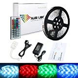 ALED LIGHT 10M 5050 RGB Colour Changing Led Strips Lights Rope Lights with 44Key IR Remote Controller+24V 3A UK Power Adapter Power Supply for Home lighting and Kitchen Decoration (300 LEDs)
