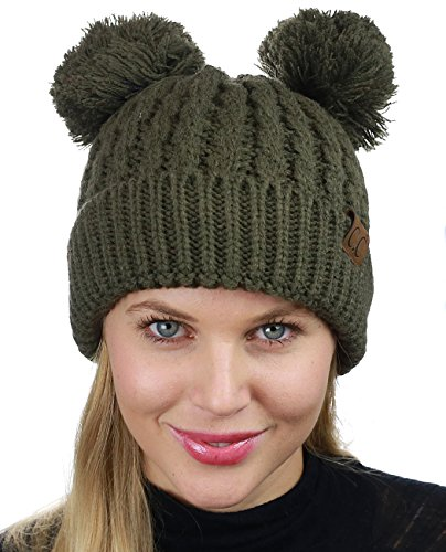 C.C 2 Ear Pom Pom Cable Knit Soft Stretch Cuff Skully Beanie Hat, Drak Olive
