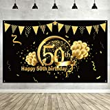 50th Birthday Party Decoration, Extra Large Fabric Sign Poster for 50th Anniversary Photo Booth Backdrop Background Banner, 50th Birthday Party Supplies (Black Gold): more info