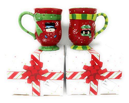 Temp-tations Set of 2 Mugs Winter Whimsy Coffee Mug Set (Snowman-Penguin)