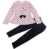 Jastore Baby Girl Cute 2pcs Set Children Clothes Suit Top and Pants Fall Clothes (6T, Pink Dot)