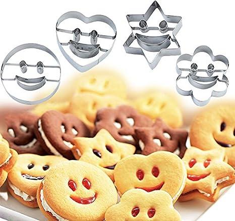 Conjunto de 4 moldes para galletas o pasteles, acero inoxidable, diseño en forma de caritas sonrientes, también sirven para cortar frutas o verduras o ...