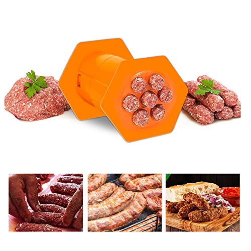 Roumin One Press Sausages Maker-Non Stick Kitchen Barbecue Grilling Party Molds Easily Making Delicious Stuffed Sausages Easy to Clean BBQ Grill Accessories,Hexagon