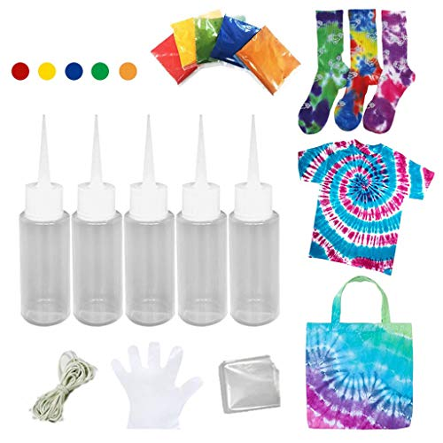 Tie Dyes DIY Kit 6 Colors Tie Dye Shirt Fabric Dye & Textile Paints for Women Kids MenRubber Bands Gloves Dyeing Arts Clothes Fabric Tie-Dye Kit