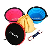 INMAKER Dog Travel Bowl with Dog Food Bag, Travel Suit with 2 FDA Approved Silicone Bowls for Dog Cat (Blue and Pink Large Size)