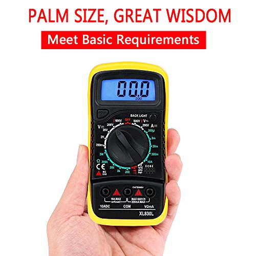 Mini Digital Multimeter, MAS830L Electronic Measuring Instrument DC / AC Voltage & DC Current / Ohm Test / Continuity Test Diode / Transistors and Continuity Buzzer Function with Backlit LCD,Overload Transistor Test