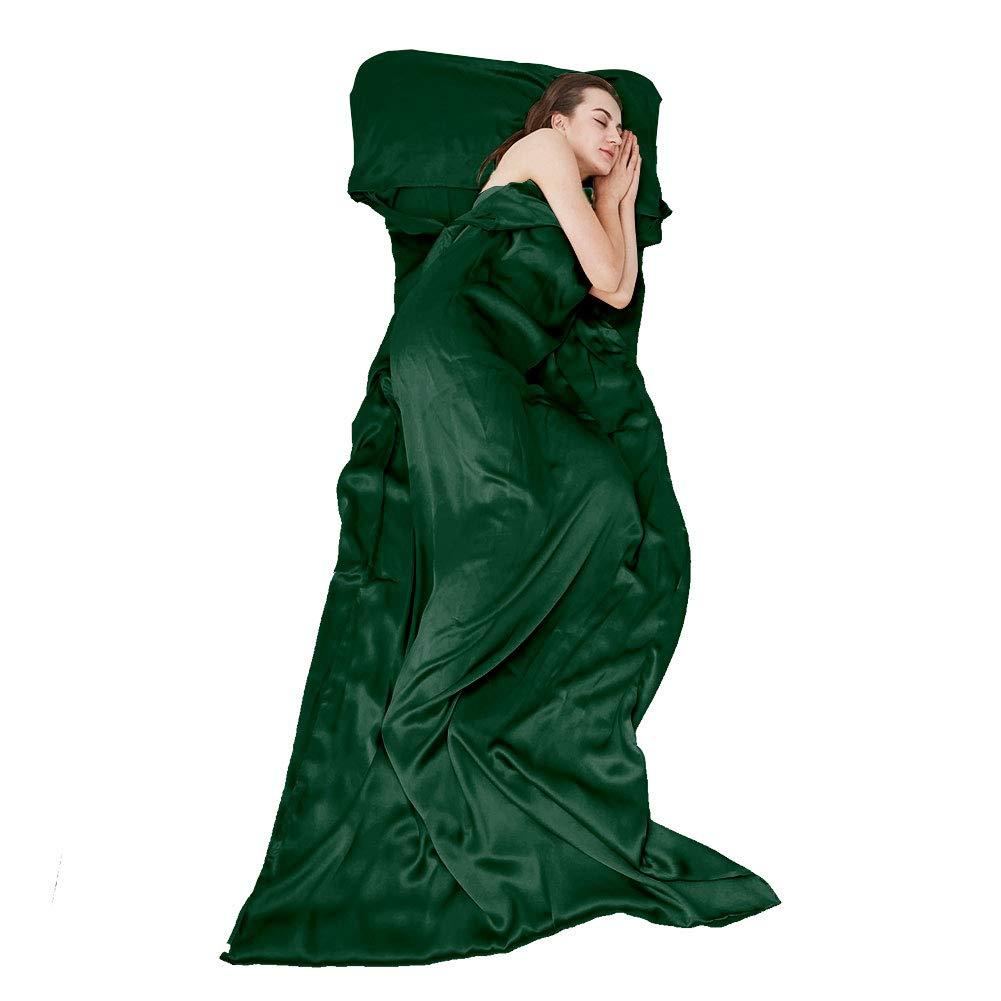THXSILK Naturally 100% Mulberry Silk Travel Sheet Camping Sheet Sleeping Bag Liner - Soft & Lightweight Sleep Bag Picnic, Hotel, Adventurous Travelers, Emerald Green, 41'' x 86'' by THXSILK