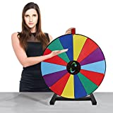 "All Wooden 24"" Tabletop Spinning Prize Wheel /Trade Show Spin Game 14 Slots With Color Dry Erase And Mark Pen"