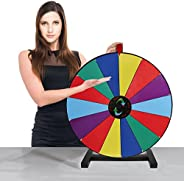 """All Wooden 24"""" Tabletop Spinning Prize Wheel /Trade Show Spin Game 14 Slots With Color Dry Erase And Mar"""