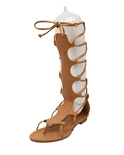Femme sandales plates romaines botte lacet au genou pour l'été qCfEog166y