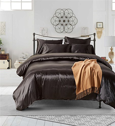 (Omelas Satin Silk Duvet Cover Queen Set Solid Colored Silky Bedding Smooth Cool Lightweight Quilt Duvet Cover with Zipper Closure 3 Pieces (Black, Full/Queen))