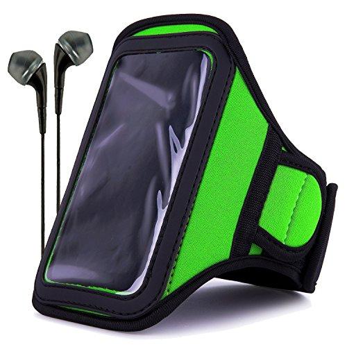 (VanGoddy Neoprene Workout Armband for Samsung Galaxy S4 / LG G2 / Apple iPhone 6 & 6s / Google Nexus 5 with Headphones & Wristband, Green)