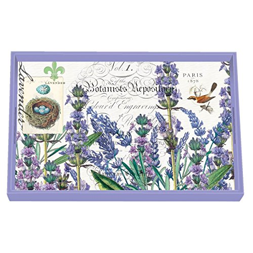 Michel Design Works 12-1/4 by 7-3/4-Inch Decoupage Wooden Vanity Tray, Lavender Rosemary by Michel Design Works