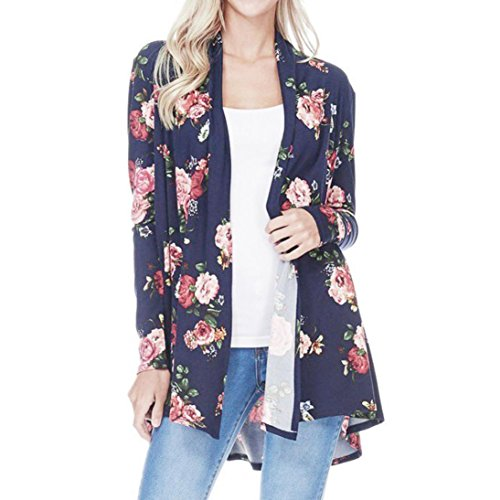 Print Shell Neck Drape (Long Oversized Shawl Womens Print Bohemia Cardigan Blouse)