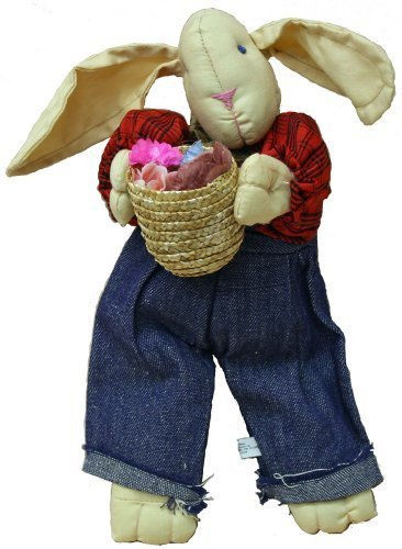 Rabbit Rag Doll 11 Inches with Blue Jean Overalls and Red Plaid Shirt with Basket