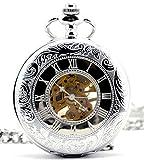 Infinite U Silver Dual Time Display Hollow Skeleton Steel Mechanical Movement Pocket Watch