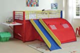 1PerfectChoice Oates Fun Youth Boy Kid Bedroom Loft Bed Tent Slide Ladder Colorful Metal Frame