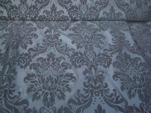 DAMASK Silver VELVET Flock Silk Taffeta Roman Blinds Fabric - PER METRE