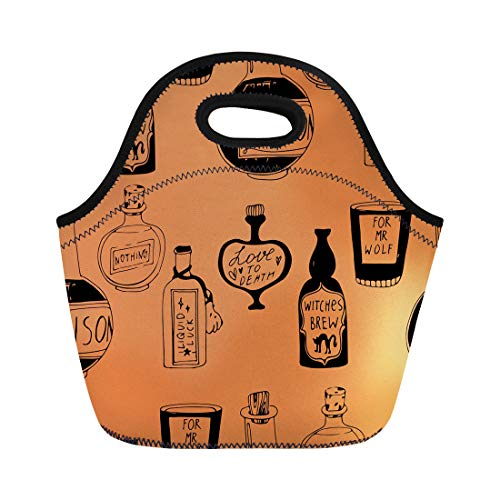 Semtomn Neoprene Lunch Tote Bag Quirky Halloween Potions Pattern Alchemist Alchemy Apothecary Artifact Boil Reusable Cooler Bags Insulated Thermal Picnic Handbag for Travel,School,Outdoors,Work -
