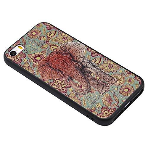 Coque iPhone SE / 5 / 5S 3D Éléphant de couleur Premium Gel TPU Souple Silicone Protection Housse Arrière Étui Pour Apple iPhone SE / 5 / 5S + Deux cadeau