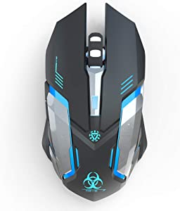 Wireless Gaming Mouse Silent Click LED Optical Computer USB Mouse 3 Adjustable DPI Level 2400/1600/1000 and 6 Buttons Auto Sleep Suitable for MAC/Laptop/PC/Notebook
