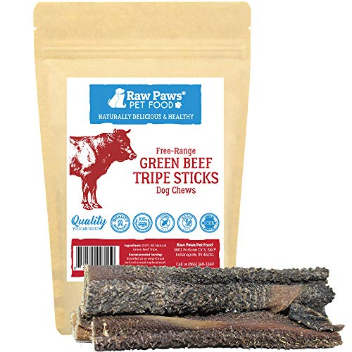 Raw Paws 6-inch Beef Green Tripe Sticks for Dogs, 5-Pack - Packed in USA - Dried Tripe Dog Treats from Free-Range, Grass Fed Cows No Added Antibiotics or Hormones - Dehydrated Green Tripe for Dogs ()