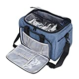 Teamoy Knitting Tote Bag, Yarn Storage Bag with Inner Detachable Divider for Thread Wool Yarn, Unfinished Project, Crochet Hooks, Knitting Needles and Accessories, Perfect for travel, Dark Blue
