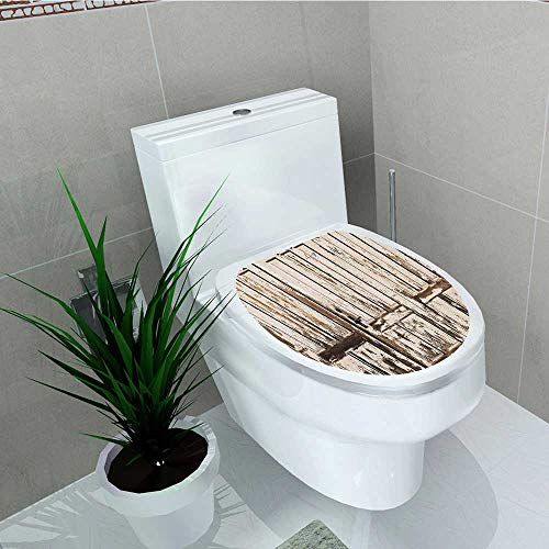 C/c Distressed Rustic Pull (Philip C. Williams Toilet Seat Decal Vinyl Rustic Entrance with Lined Planks Distressed Hardwood Design Brown Decal Sticker for Toilet Decoration W8 x L11)
