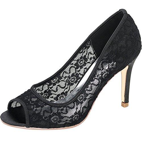 Loslandifen Mujeres Peep Toe Bombas De Encaje Transpirable Stiletto Tacones Altos Zapatos De Boda Negro / C