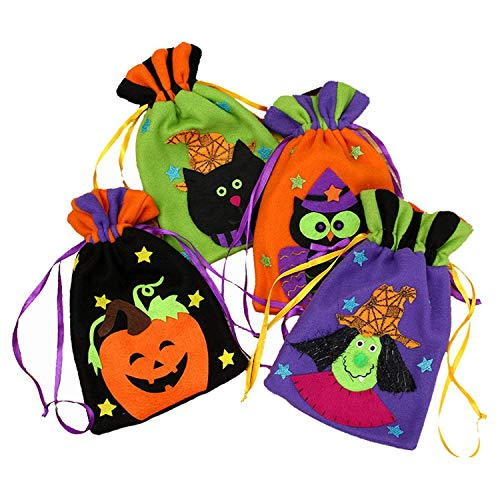 Yillsen Halloween Candy Bags,Pack of 4 Halloween Tote Bags - Halloween Trick or Treat Drawstring Bags Pumpkin for Kids Halloween Party Gift Sacks and Presents]()