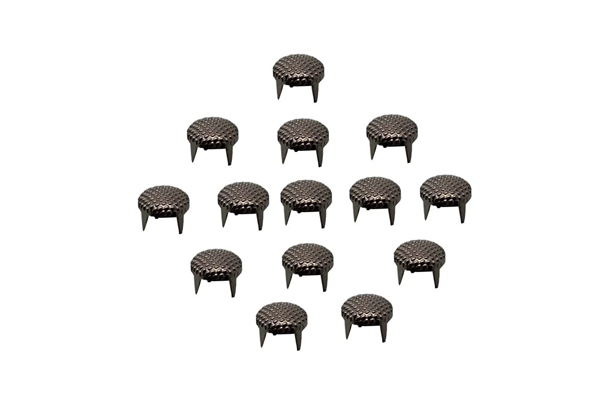 100 x EIMASS® Dotted Gunmetal 8mm Circular Round Dome Studs Rivets with Prongs to Embellish Shoes, Bags, Leather, Crafts, Belts, DIY