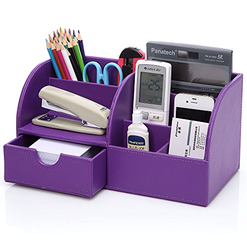 KINGOM™ 7 Storage Compartments Multifunctional PU Leather Office Desk Organizer,Desktop Stationery Storage Box Collection, Business Card/Pen/Pencil/Mobile Phone /Remote Control Holder Desk Supplies Organizer (Purple)