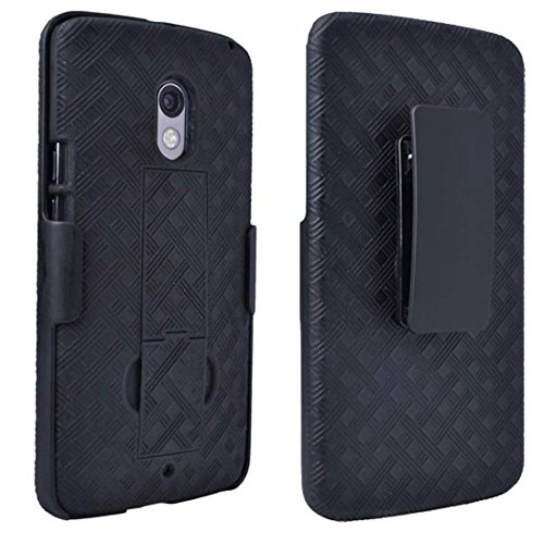 oto X Play Case, Rome Tech OEM Protective Slim Cell Phone Case with Kickstand Clip Holster for Motorola Droid Maxx 2 - Black ()