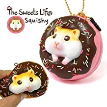 The Sweet Life Series Squishy Soft Kawaii Donuts Bread Bun Squishy Toys Stress Ball, Ball Chain (Golden Hamster / Chocolate Iced Strawberry Donut)