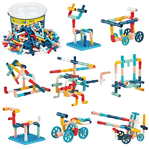 burgkidz Pipe Building Blocks Toys, 252 Pieces Creative STEM Construction Tubes with Wheels and Baseplate, Preschool…