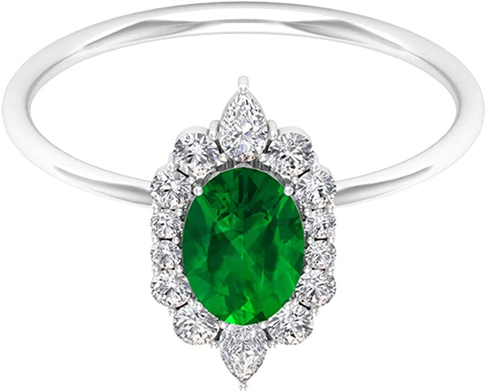 Anillo de compromiso de esmeralda solitario de 0,85 quilates, anillo único de halo de diamantes de 1/4 ct, forma ovalada, anillo de piedra natal de mayo, 14K Oro blanco, Size:EU 67