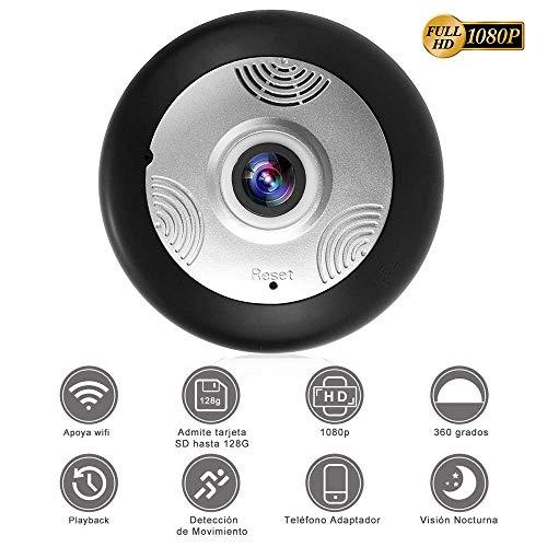 SEEDARY HD 1080P IP Wifi Cámara de Seguridad, Cámara de Vigilancia Panorámica de 360 grados, con Micrófono y Altavoz IR...