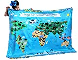 birdyboutique.com Dinosaur Species Learn Names Educational Blanket Reversible World Map Identification Learning for Kids Large 50x60 Gift Double Layered