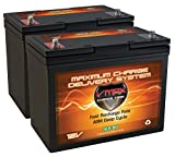 qty 2 Vmaxtanks VMAXSLR60 AGM deep cycle 12V 60AH ea 120ah total batteries for Use with 12v or 24v PV Solar Panel wind turbine gas or electric power backup generator or smart charger