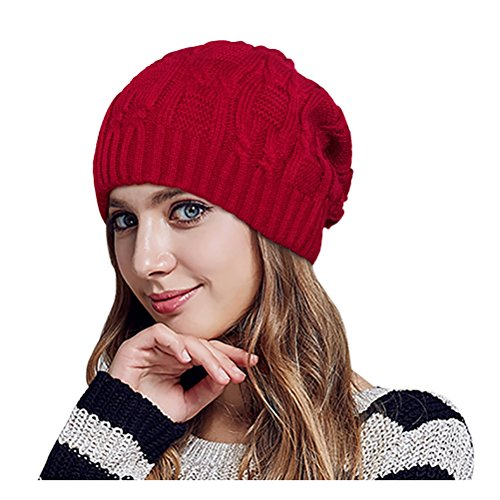 Glamorstar Unisex Cable Knitt Hat Winter Warm Thick Braided Beanie Slouchy Ski Cap Jujube Red