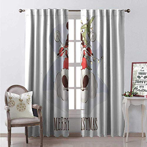 Hengshu Merry Christmas Thermal Insulating Blackout Curtain Cool Santa Sunglasses Riding a Chopper Bike Xmas Tree and Sack Blackout Draperies for Bedroom W84 x L108 Multicolor