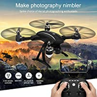 LAIHUI (2019 New Drones with Camera, GPS FPV RC Drone 720 HD and Adjustable Wide-Angle WiFi Camera Follow Me, Foldable Altitude Hold, Intelligent Battery Long Control Range