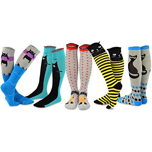 TeeHee Novelty Cotton Knee High Fun Socks 5-Pack for Women (Cats) -