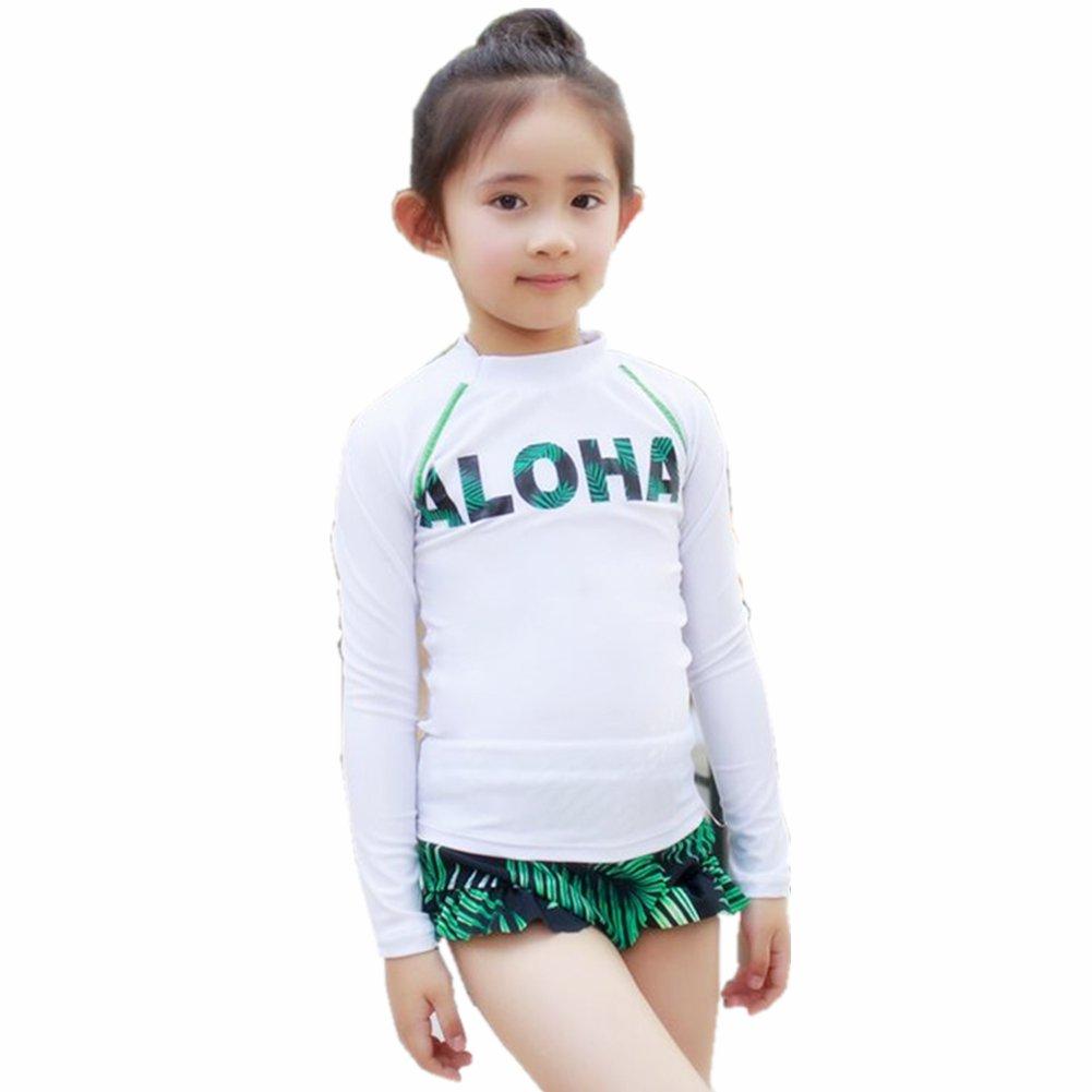 ZYZF Kid Girl Tankini 3 Pieces Bikini Swimwear Long Sleeve Swimsuit Cover Rash Guard Sun Protection UPF 56+ UV 2016007140436