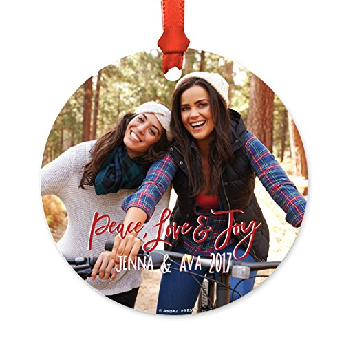 Andaz Press Photo Personalized Metal Christmas Ornament, Wedding, Peace Love and Joy, Bride Groom Names, Mrs. Mrs., 1-Pack, Includes Ribbon and Gift Bag, Custom Bride Groom Name Date (Custom Baubles Christmas)