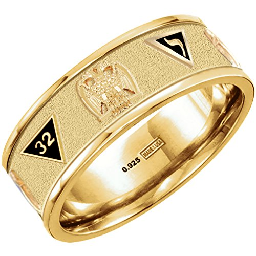 US Jewels And Gems New Customizable up to 8 Emblems Vermeil Gold Plated Scottish Rite Freemason Ring Band, Size 10.5