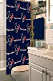 Houston Texans COMBO Shower Curtain, Matching Shower Curtain Rings & Set of (Four) Appliqué Bath Towels with Team Logo - Decorate your Bathroom & SAVE ON BUNDLING!