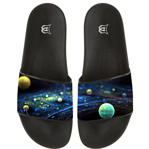COWDIY Universe Comfy Slide Sandals Home Flats Shoes Shower Slip On Slipper Beach Slippers Waterproof Slippers